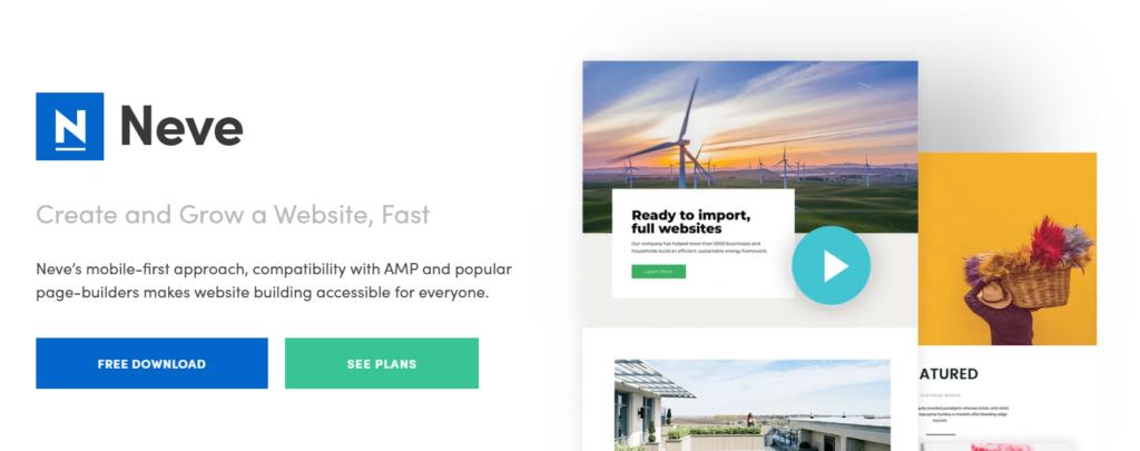Neve WordPress Theme Banner Page