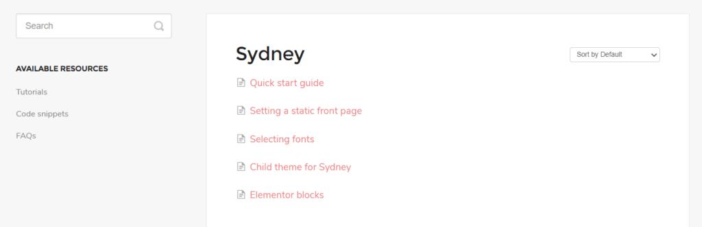 Sydney Documentation