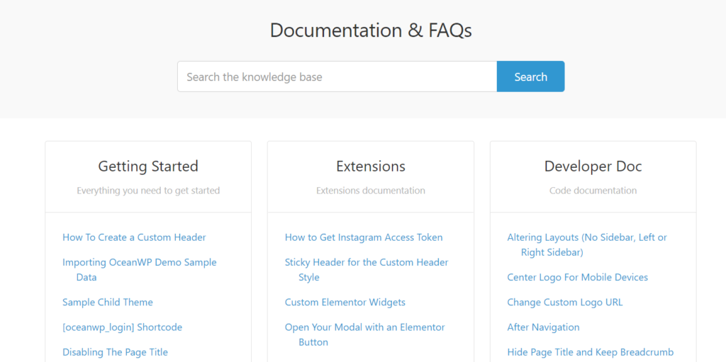 free WordPress theme OceanWP documentation