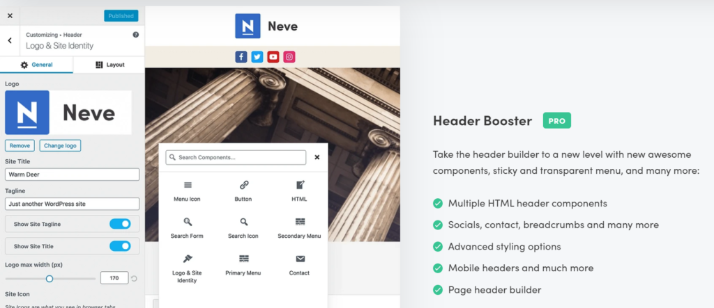 Neve Header and Footer Settings